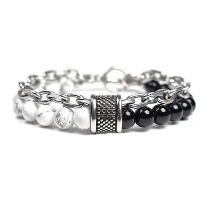 Bead with curb chain